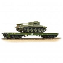 38-726 WD 50T 'Warflat' Bogie Wagon WD Bronze Green With Cromwell MKIV Tank OO GAUGE
