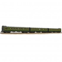 374-911 SE&CR 60′ Birdcage Stock 3 Coach Pack Southern Railway Olive Green