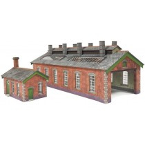 PN913 RED BRICK DOUBLE ENGINE SHED N GAUGE