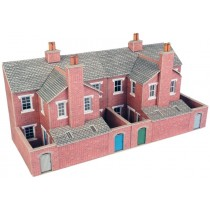 PO276 LOW RELIEF RED BRICK TERRACED HOUSE BACKS OO GAUGE