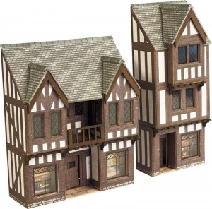 PN190 N SCALE LOW RELIEF TIMBER FRAMED SHOPS