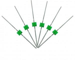 LED-GRM Mini Butterfly Type  6x 1.6mm (w/resistors)  Green