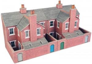 PO276 LOW RELIEF RED BRICK TERRACED HOUSE BACKS OO GAUGE