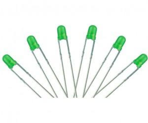LED-GR3 T1 Type  6x 3mm (w/resistors)  Green